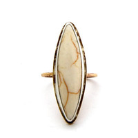 Willow - A White Howlite Statement Ring Set in Sterling Silver on Brass