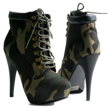 Compose 01 Women Stilettos High Heel Combat Lace UP Ankle Boots
