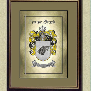 STARK HOUSE Coat of Arms - Game of Thrones -  Poster art print  - Quote art print -