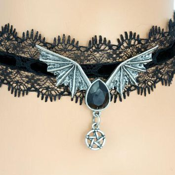 ac spbest Sexy Black Lace Choker with Bat Wing Black Stone Pendant Gothic Jewelry Necklace