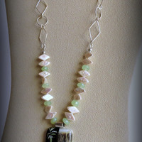 Necklace, Zebra Pendant with Chalcedony, Freshwater Pearls and Sterling Silver