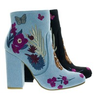Namaste11 Blue Jean Denim by Bamboo, Floral Embroidery Block Heel Ankle Bootie w Faux Fur Lining
