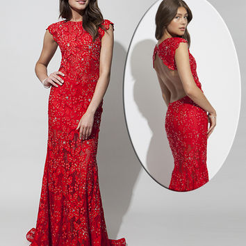 Cap sleeve long dress 90676 red canoe