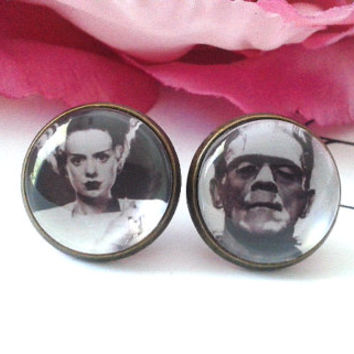 Monster Couple Stud Earrings - Studs - Earrings - Black & White Earrings - Creepy Monsters - Creepy Earrings - Monster Plugs