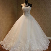 A-line Sleeveless Ivory Bridal Wedding Dress with Beads Custom Size 0 2 4 6 8