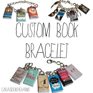 Custom Book Bracelet - Choose Your Own Miniature Book Charms