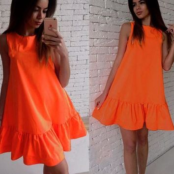 Streetstyle  Casual Orange Plain Ruffle Round Neck Sleeveless Mini Dress
