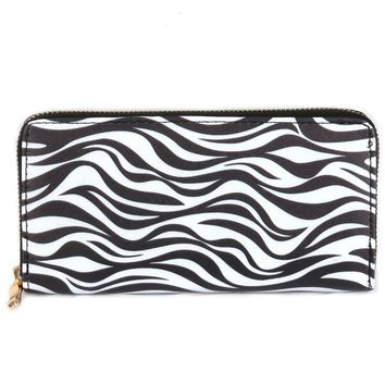 Zebra Print Vinyl Clutch Wallet Bag Accessory 317