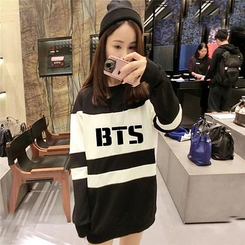 2017 NEW kpop bts Bangtan Boys womem Autumn Mixed colors black and white Long section Hoodies k-pop bts Korean style Sweatshirts
