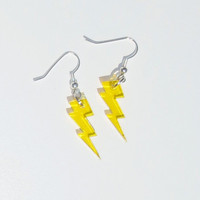 Yellow Lightning Earrings Free Shipping Laser Cut Earrings Lightning Bolt Earrings Flash Electricity Electric Dangle Lightening Earrings