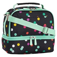Gear-Up Bright Black Confetti Dot Dual Compartment Lunch Bag