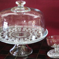 Pedestal Cake Plate Stand and Glass Dome in Clear Windsor Button and Cane by Federal Glass, Punch, Salad or Trifle Bowl