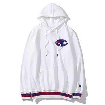 Champion New fashion bust embroidery logo high quality hooded long sleeve sweater White