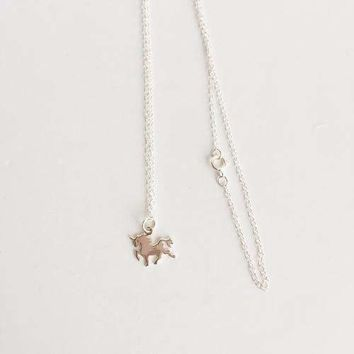 Sterling Silver Tiny Unicorn Pendant Necklace