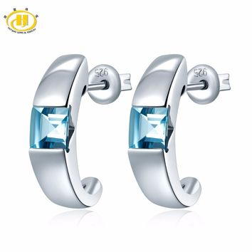 Hutang 1.12 CT Genuine Gemstone Aquamarine Solid 925 Sterling Silver Stud Earrings Fine Jewelry For Women's Gift