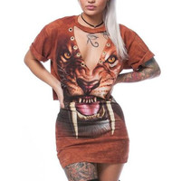 Tiger Pattern Print Orange Mini Dress Two Piece Set