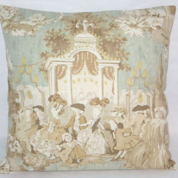 "Pale Blue Baroque Toile Pillow Vintage Look 18"" Square Covington Vauxhall Ivory Brown Gold Tan Colonial Pictorial Linen Blend  Ready Ship"