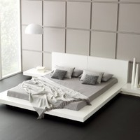 Fujian Modern Platform Bed + 2 Night Stands King (Glossy White).