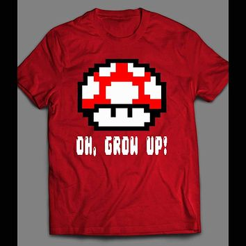 YOUTH SIZE OH GROW UP, LEVEL UP 8-BIT MUSHROOMS T-SHIRT