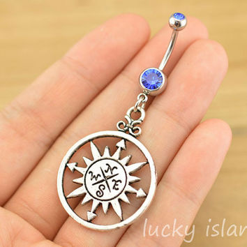 compass belly button jewelry,belly button rings,navel ring,compass piercing belly ring,nautical piercing bellyring