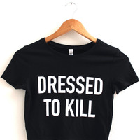 Dressed To Kill Black Graphic Crop Top