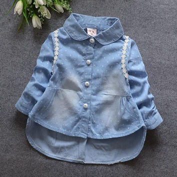 2016 Spring New Children Clothing Girls Cute Dot Lace Long-sleeved Turn-down Denim Shirt Kids Clothes