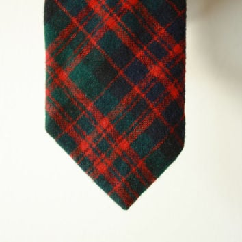 Tartan Red Green Wool Knit Vintage Tie