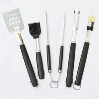 Stainless Steel BBQ Tool set  with PP Handle Barbecue Grilling Tool (Spatula Fork Tong Basting Tool) Kitchen Utensils