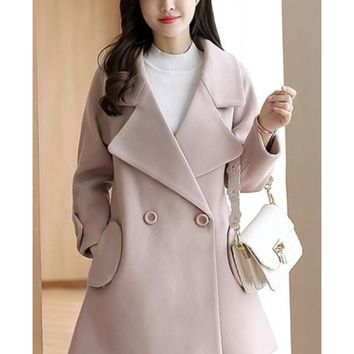 Womens Double Breasted Peacoat in Light Pink
