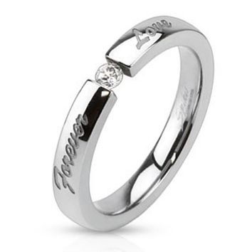 """""""Forever Love"""" Engraved Stainless Steel Band Ring with 3mm Tension set CZ"""