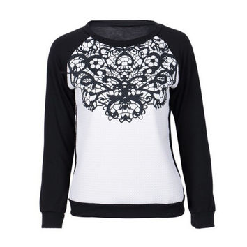 Women Cloth Loose Long Sleeve Lace Patchwork Shirts Sweatshirts Hoodies Plus Size SM6