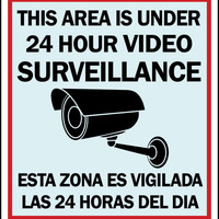 Warning Security Video Surveillance Sign English/Spanish Retail Store Sign