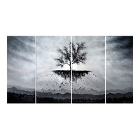 Tree Roots Uplifted Abstract Canvas Wall Art Oil Painting