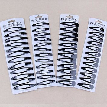 12PCS/Pack New Simple Black Hair Clips Girls Hairpins BB Clips Barrettes Headbands For Womens Hairgrips Hair Accessories 2 Sizes