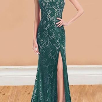 Green Patchwork Lace Slit Backless Sleeveless Cocktail Party Maxi Dress