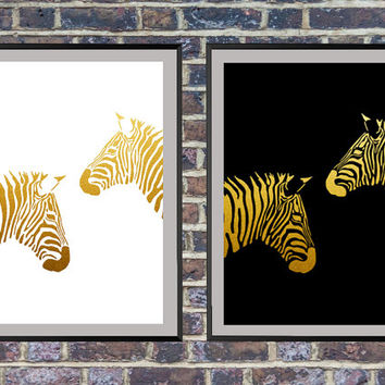 2 for the price of 1 Gold Zebra Print, Gold Black and white Zebra Print Instant Download Printable Wall Art Nursery Art Modern Wall Art *10*