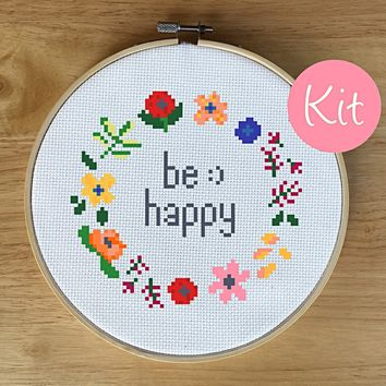 Beginner Floral Wreath Cross Stitch Kit, Be Happy Quote