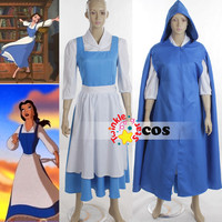 Halloween costumes for women adult Princess village Belle Beauty and the Beast cosplay costumes(shirt+blue dress+cloak+apron+bow