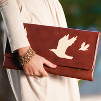 Bird Vegan Leather Clutch Purse in Color of Your Choice