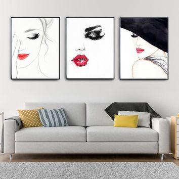 Nordic Canvas Painting Bar Kitchen Living Room Home Decoration Beautiful Girl Red Lips Sexy Girl Posters Prints Wall Art Picture
