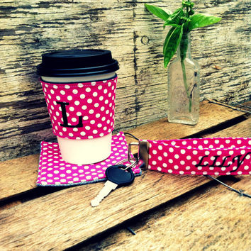 Gift Set / Reusable Coffee Sleeve with Matching Coaster and Key Fob/ /Pink with White Polka Dots