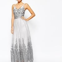 Chi Chi London Cami Strap Premium Lace Maxi Tulle Prom Dress