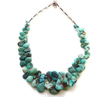 Vintage Natural Turquoise Nugget Necklace Native American Ethnic Jewelry Tear Drop