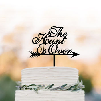 Bridal Shower cake topper, party Cake decor, the hunt is over cake topper , unique cake topper for wedding, bridal shower engagement party