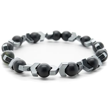 Black Onyx and Gray Hematite Gemstones Beaded Bracelet for Men and Women