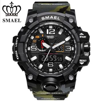 SMAEL Brand Sports Watches Men Dual Time Camouflage Military Watch Men Army LED Digital Wristwatch 50M Waterproof Men's Clock