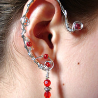 Pair of Elf Ear Cuffs with red glass and silver by jhammerberg