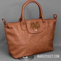 Monogrammed Brown Holly Cross Body Purse