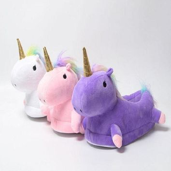 plusunion flock latex solid indoor plush unicorn slippers house mules platform flip fl