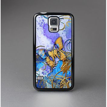 The Blue Bright Watercolor Butter-Floral Skin-Sert Case for the Samsung Galaxy S5